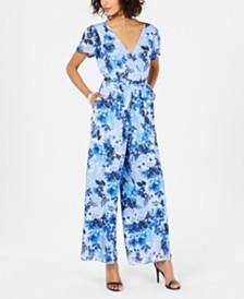 Donna Ricco Floral-Print Tie-Waist Jumpsuit