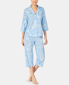 Lauren Ralph Lauren Printed Woven Notch Collar Top & Capri Pajama Pants Set