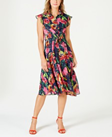 julia jordan Floral-Print Belted Shirtdress