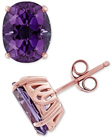 Amethyst Earrings (3-1/5 ct. t.w.) Stud Earrings in 14k Rose Gold