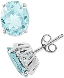 Aquamarine Stud Earrings (3 ct. t.w.) in 14k White Gold