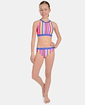 c47ba3d63f8 Calvin Klein Big Girls 2-Pc. Striped Bikini Swimsuit