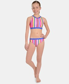 Calvin Klein Big Girls 2-Pc. Striped Bikini Swimsuit