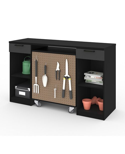 Bestar Lincoln 2 - Piece Workbench and Mobile Storage Unit Set