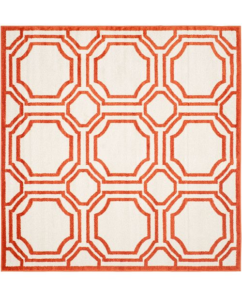 Safavieh Amherst Ivory and Orange 5' x 5' Square Area Rug