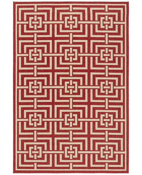 """Safavieh Linden Red and Creme 5'1"""" x 7'6"""" Area Rug"""