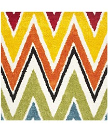 "Shag Kids Ivory and Multi 6'7"" x 6'7"" Square Area Rug"