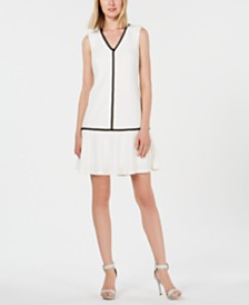 Calvin Klein V-Neck Flounce Dress