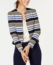 Anne Klein Striped Collarless Jacket