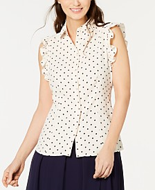 Anne Klein Dot-Print Ruffle-Sleeve Top
