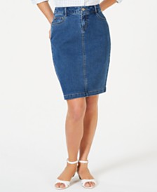 Charter Club Petite Denim Tummy-Control Skirt, Created for Macy's