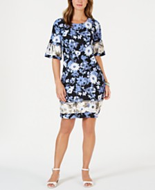 Charter Club Printed Flare-Sleeve Shift Dress, Created for Macy's