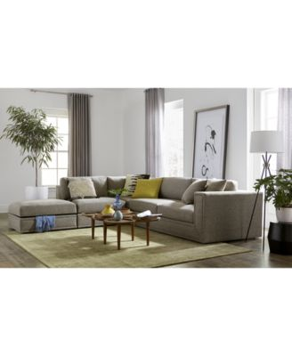 CLOSEOUT! Dulovo 4-Pc. Fabric Sectional Sofa, Created for Macy's