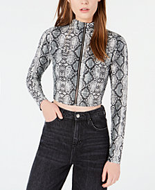 Waisted Cropped Zip-Front Top