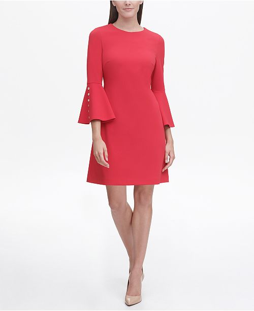 Tommy Hilfiger Scuba Crepe A-line Dress with Bell Sleeves, Created for Macy's