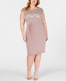 Connected Metallic Lace-Bodice Wrap Dress