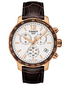 Men's Swiss Chronograph T-Sport Quickster Brown Leather Strap Watch 42mm