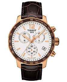 Tissot Men's Swiss Chronograph T-Sport Quickster Brown Leather Strap Watch 42mm