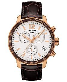 Tissot Men's Swiss Chronograph T-Sport Quickster Brown Leather Strap Watch 42mm