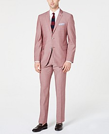 Men's Slim-Fit Stretch Wrinkle-Resistant Solid Textured Suit