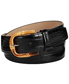 Steve Madden Croc-Embossed Faux Leather Belt