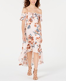 American Rag Juniors' Printed Corset Cold-Shoulder Dress, Created for Macy's