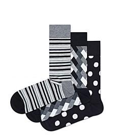 Happy Socks Black/Grey Big Dot 3-Pack Socks