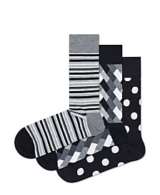 Happy Socks Black/Grey Big Dot 3-Pack Socks