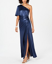 One-Shoulder Ruched Metallic Gown
