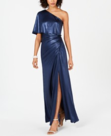 Adrianna Papell One-Shoulder Ruched Metallic Gown