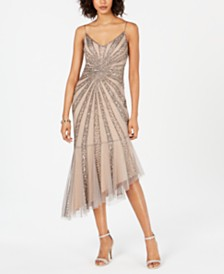 Adrianna Papell Beaded Bias-Cut Dress