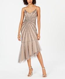 Adrianna Papell Beaded Bias-Cut Dress