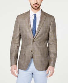 Lauren Ralph Lauren Men's Classic-Fit UltraFlex Stretch Tan/Blue Windowpane Sport Coat