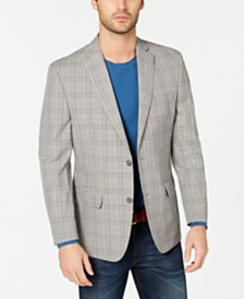 Michael Kors Men's Classic-Fit Light Gray Plaid Sport Coat