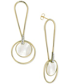 Mother-of-Pearl Circle Drop Earrings in Gold-Plated Sterling Silver