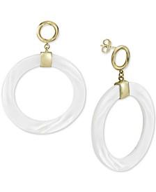 Mother-of-Pearl Drop Hoop Earrings in Gold-Plated Sterling Silver