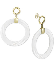 Argento Vivo Mother-of-Pearl Drop Hoop Earrings in Gold-Plated Sterling Silver