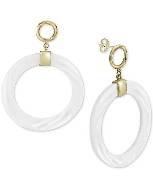 742753793 ... Argento Vivo Mother-of-Pearl Drop Hoop Earrings in Gold-Plated Sterling  Silver ...