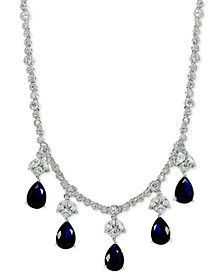 "Cubic Zirconia Teadrop 17"" Collar Necklace in Sterling Silver, Created for Macy's"