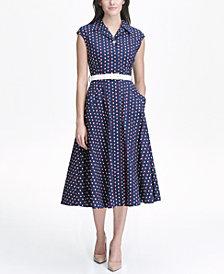 Tommy Hilfiger Dot Print Cotton Midi Shirtdress with Belt