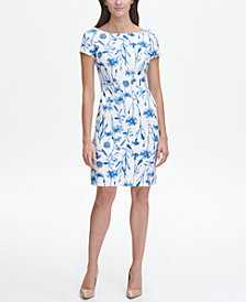 Tommy Hilfiger Scuba Crepe Bluegrass Floral Sheath Dress with Cap Sleeves