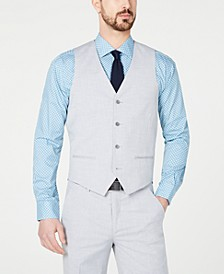 Men's Slim-Fit Performance Stretch Wrinkle-Resistant Light Gray Suit Vest, Created for Macy's
