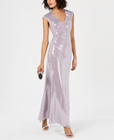 Jessica Howard Embellished Metallic Gown