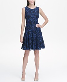 Tommy Hilfiger Ocean Breeze Sleeveless Lace Fit and Flare Dress