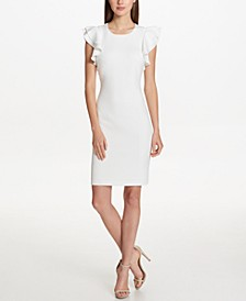Scuba Sheath Dress with Flutter Sleeves