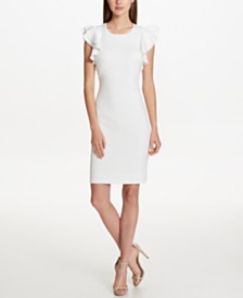 Tommy Hilfiger Scuba Sheath Dress with Flutter Sleeves