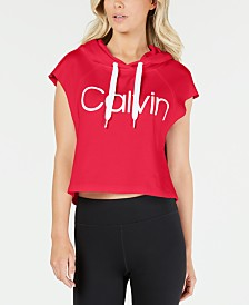 Calvin Klein Performance Logo Cropped Sleeveless Hoodie