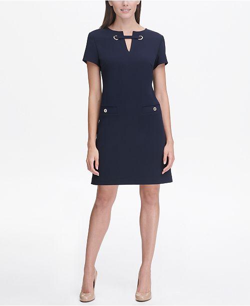 f4e4d3821a Tommy Hilfiger Scuba Crepe Grommet Top Pocket Dress   Reviews ...