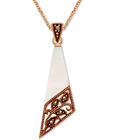 "Marcasite & Mother-of-Pearl Filigree 18"" Pendant Necklace in Rose Gold-Plate"