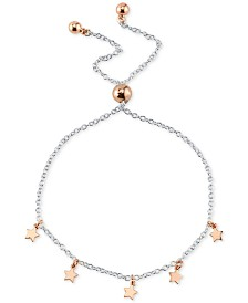 Unwritten Star Charm Adjustable Bolo Bracelet in Sterling Silver & Rose Gold-Flash Plated Sterling Silver